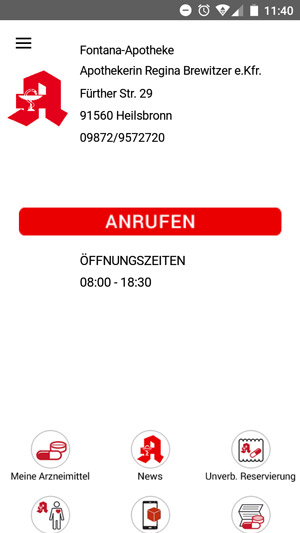 Vorbestellung per App (Screenshot)